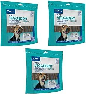 Virbac C.E.T. 3 Pack of VeggieDent Regular Dental Chews for Dogs, 30 Chews Per Pack
