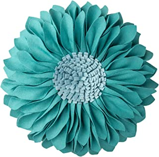 JWH Handmade 3D Flowers Accent Pillow Round Sunflower Cushion Decorative Pillowcase Pillow Insert Home Sofa Bed Living Room Decor Gift 12 Inch / 30 cm Cotton Canvas Wool Solid Suede Teal Blue