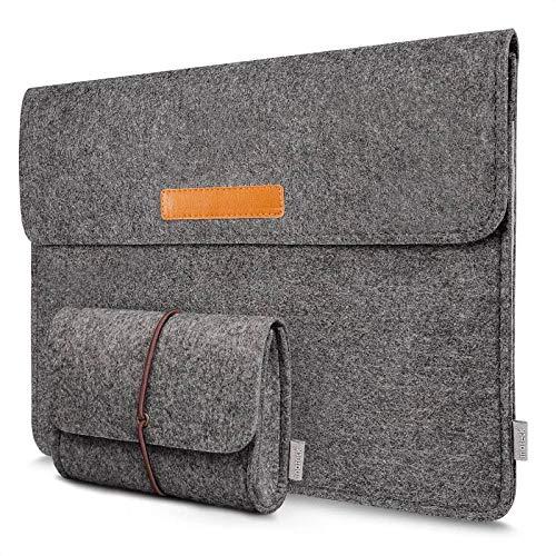 Inateck Filz Hülle Tasche Kompatibel mit 16 Zoll MacBook Pro 2019, MacBook Pro 15,4 Zoll/XPS 15/ Ultrabook Laptop Sleeve Hülle, Dunkelgrau