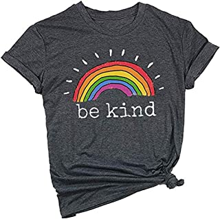Mahrokh Womens Be Kind Shirt Rainbow Tees Funny Inspirational T Shirts Casual Short Sleeve Tops