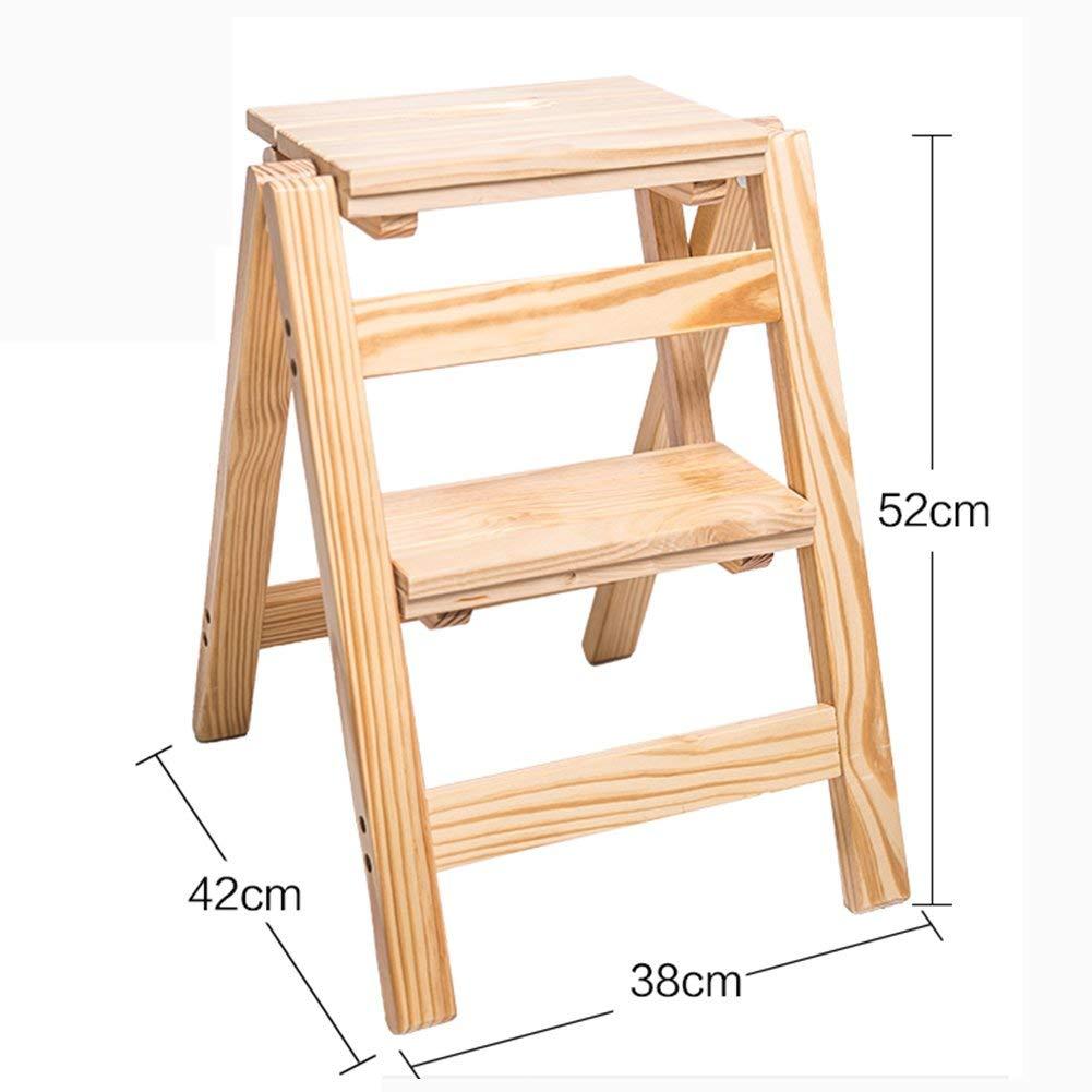 MJY Escalera de madera sólida de 2 pasos Escalera de mano, Silla de escalera plegable multifuncional para el hogar para adultos, niños, Estante de flores portátil para interiores, Banco de zapatos /: