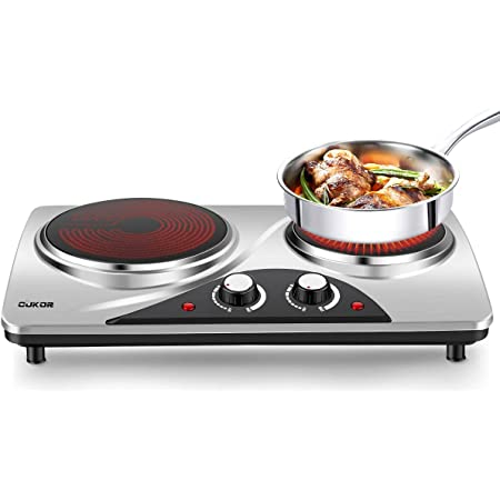 CUKOR Electric Hot Plate, 1800W Portable Electric Stove,Infrared Double Burner,Heat-up In Seconds,7.1 Inch Ceramic Glass Double Hot Plate Cooktop for Dorm Office Home Camp, Compatible w/All Cookware