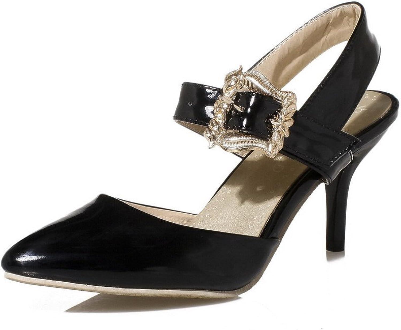 WeenFashion Women's Kitten-Heels Enamelled Leather Solid Buckle Closed Toe Sandals