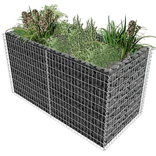 Festnight Gabionen Pflanzenkorb Hochbeet für Stützmauern Gartenzaun Gabionenwand aus Stahl 180×90×100 cm Silbern