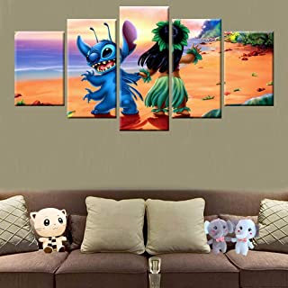 KLKLDD 5 Panel Hd Print Movie Lilo & Stitch Character Canvas Painting Poster Wall Art Frame Home Decoration Kids Room Bedroom Photo,20X35 20X45 20X55Cm