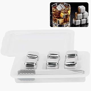 Whisky Eiswuerfel Steine, ZoneYan Eiswürfel Edelstahl Wiederverwendbar, Eiswürfel Edelstahl, Reusable Ice Cubes, Whisky Kühlstein, mit 6 Kühlsteine Whiskey, Zange und Einfrierbox, Für Whiskey, Bier