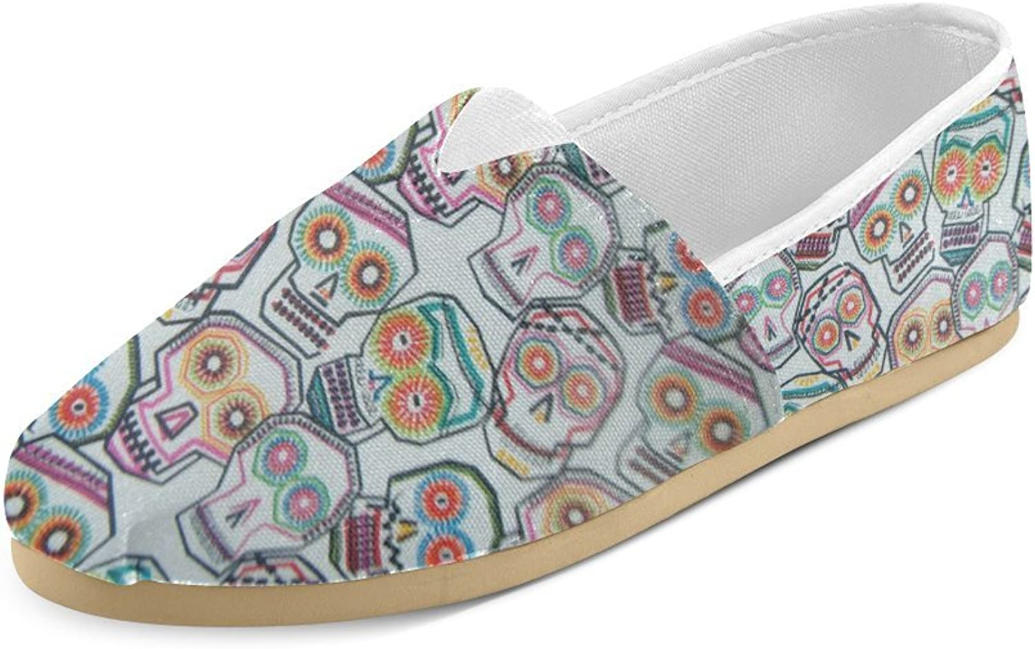 HUANGDAISY Unisex shoes colorful Tossed Skulls Casual Canvas Loafers for Bia Kids Girl Or Men