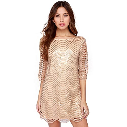 7ed844bd5f7 Deargles Womens Dress in Sequins Short Sleeves SS16001 Gold 16