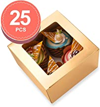 BAKIPACK 25 Bakery Boxes 5x5x3.5 Inches Cupcake Boxes with Window Treat Boxes for Small Bakery, Dessert, Candy, Cookies, Pastry, Treat, Party Favors, Wedding Cake Gold