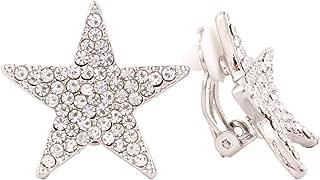 Five-pointed Star Shape Fine Full Rhinestone Fashion Silver/Gold Clip Earrings
