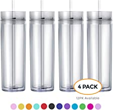 Maars Drinkware Double Wall Insulated Skinny Acrylic Tumblers with Straw and Lid, 16 oz. (4 pack, Clear)