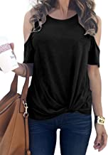 MODARANI Cold Shoulder Tops for Women Knot Twisted Front Casual Tunic Tops Comfy