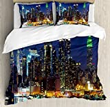 Ambesonne New York Duvet Cover Set, NYC Midtown Skyline in Evening Skyscrapers Metropolis City States Photo, Decorative 3 Piece Bedding Set with 2 Pillow Shams, Queen Size, Royal Blue