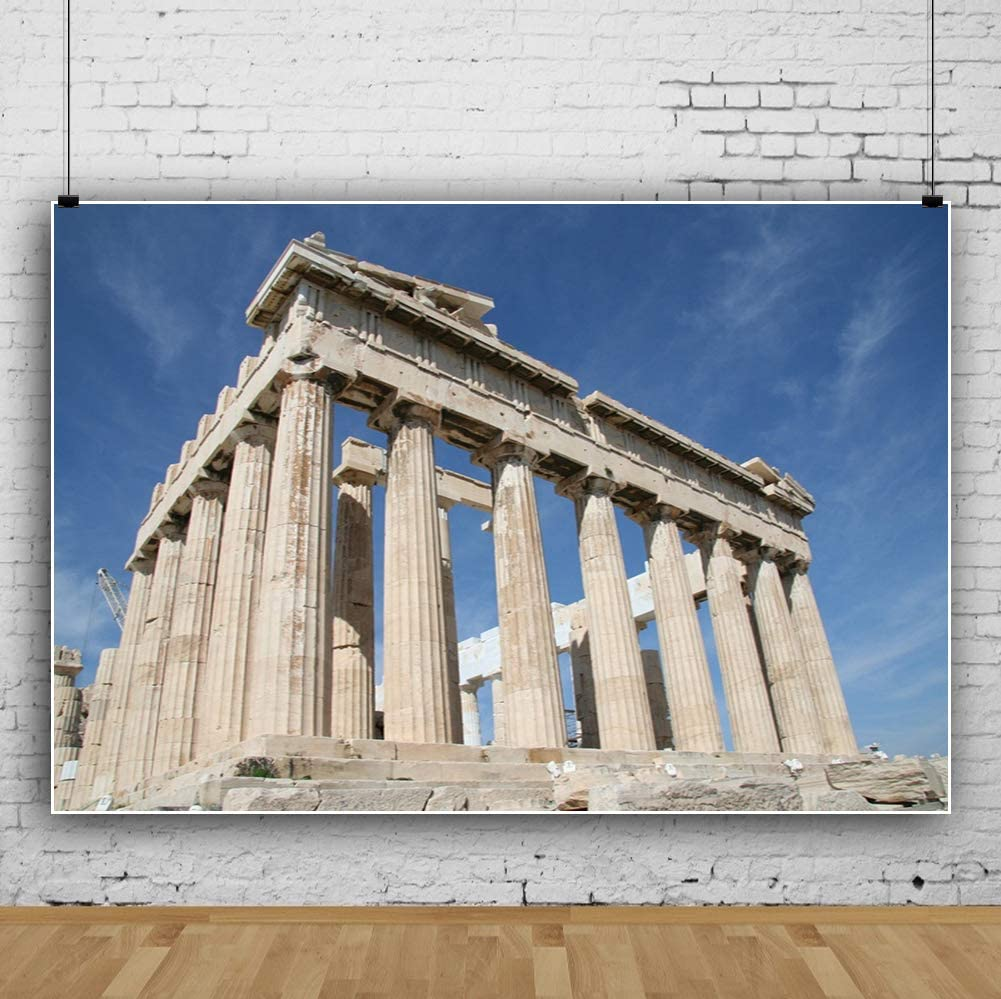 AOFOTO 5x3ft Parthenon Temple Backdrop Acropolis of Athens Column Retro Stone Pillar Photography Background Greek Ancient Architecture Landmark Tour History Culture Photo Studio Props Vinyl Wallpaper
