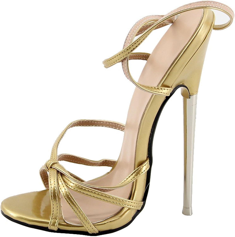 WONDERHEEL APPR. 7  Thin Metal Heel Ankle Strap Women Sandals gold Patent Sexy Fetish Sandals