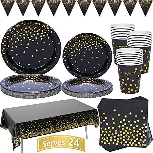Schwarz und Gold Partygeschirr 99 Stück Golden Dot Partyteller Set Enthält Pappteller, Servietten, 9-Unzen-Tassen, Tischdecke, Banner, für Geburtstag, Abschlussfeier, Cocktailparty, Severs 24 Gäste
