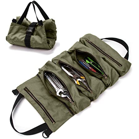 Super Tool Roll Up Bag, Heavy Duty Tool Bag Wrench Organizer with 5 Zipper Pockets, Canvas Pliers Organizer for Mechanics, Tool Pouch Sling