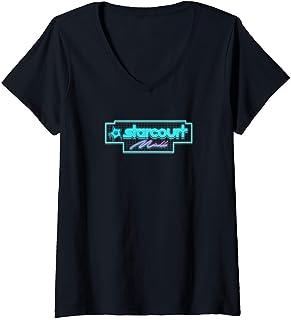 Femme Stranger Things Neon Starcourt T-Shirt avec Col en V