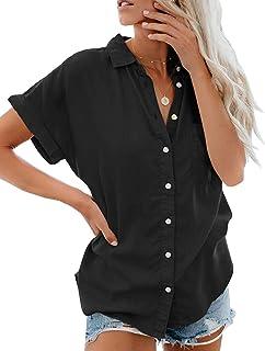 3b4638fd6b388 Lantch Damen Bluse Shirt Sommer Hemdbluse Kurzarm Hemd Tops Frauen  Oberteile T-Shirt
