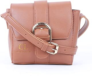 Carlton London Flap Bag for Women - Synthetic, Tan