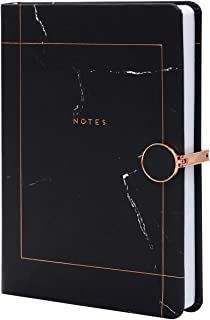 Karamel77 - Marble Lined Notebook – A5 Memo Journal Agenda Note with Magnetic Metal Buckle and Bookmark Ribbon (Black)