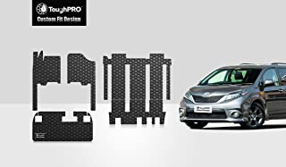 ToughPRO Floor Mats Full Set + Storage Compatible with Toyota Sienna (7 Passengers) -All Weather-Heavy Duty-(Made in USA)- Black Rubber - 2011, 2012, 2013, 2014, 2015, 2016, 2017, 2018, 2019, 2020