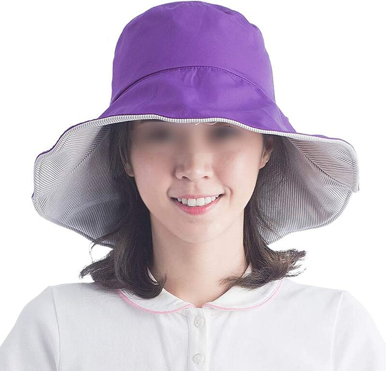 Summer Sun Hat, Beach Hat, UV Predection Fisherman Hat Collapsible Sun Hat, Suitable for Outdoor Daily Travel,2 color (color   Purple)