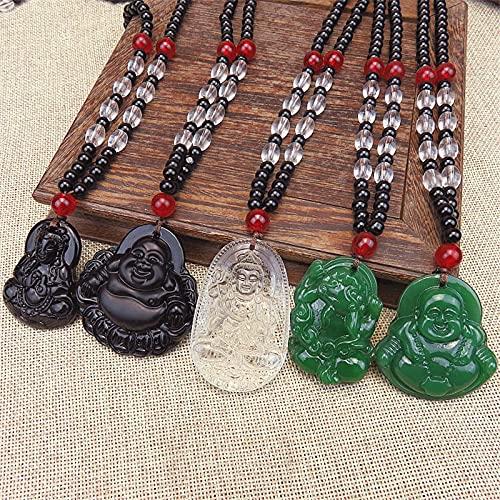 JIUXIAO Buda Colgante Collares Hombres Mujeres Negro/Blanco/Verde Amuleto Estilo Chino Maitreya encantos joyería Estilo