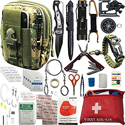 """30+ """"ITEMS"""" in 1 Survival kit / Emergency gears + First Aid kit; Include all Essential & tools those use for Camping Biking Hunting Outdoor SOS Birthday Gift - Men Women Boys Girls need this cool kit from A+ Alertoa"""