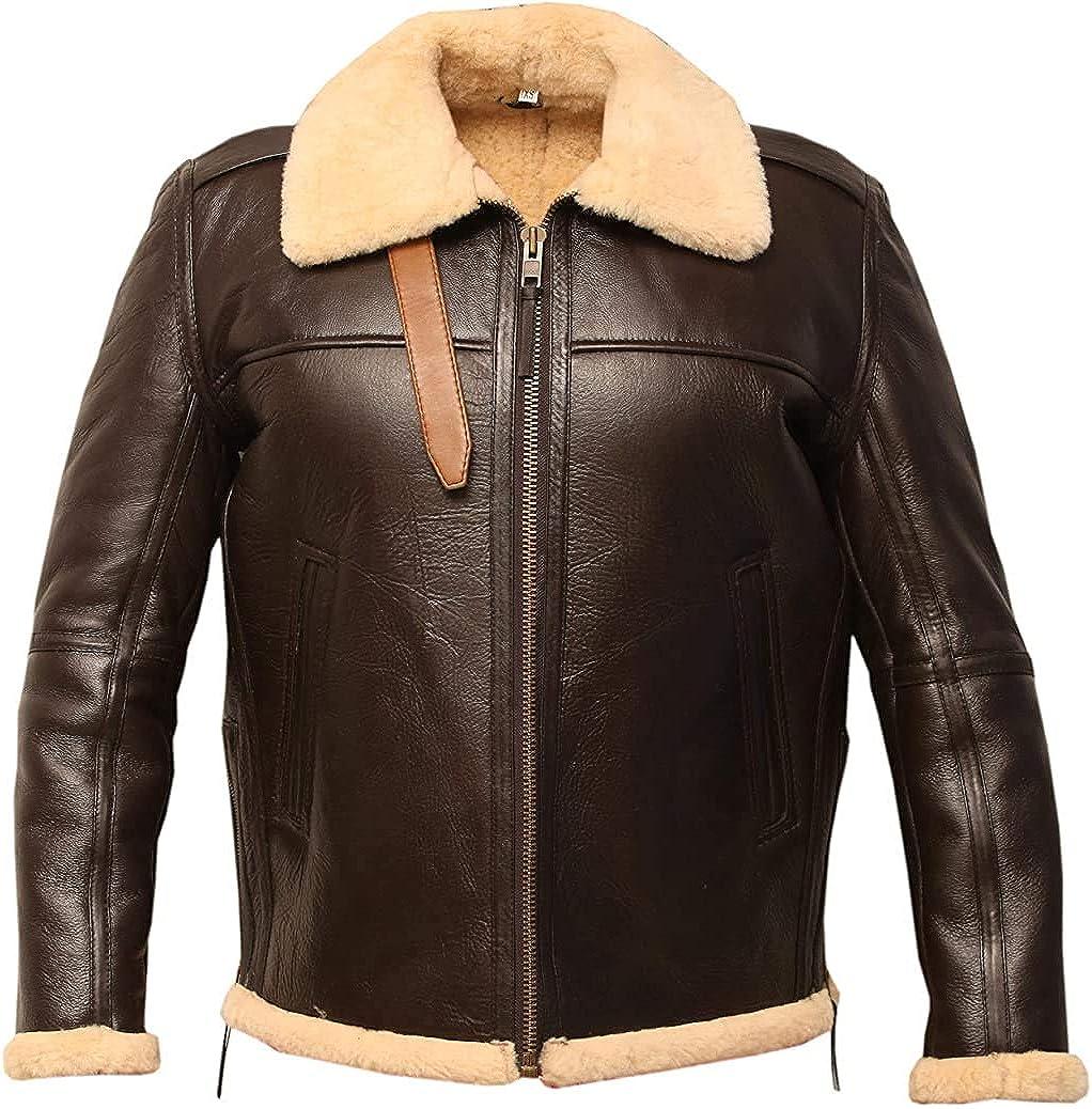 B6 USAAF Bomber Real Shearling 日本全国 送料無料 Sheepskin Leather 在庫一掃売り切りセール Aviator Jacket