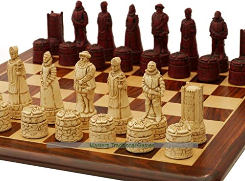 English History OrnaHommestal Chess Set (Cream and rouge, no Board)