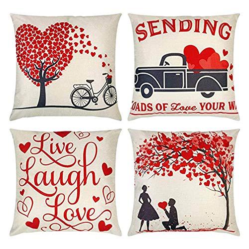 Juego de 4 fundas de cojín de San Valentín decorativas para sofá, 45 cm x 45 cm, tela de lino suave, color beige, diseño de corazón, color rojo, para decoración de cama de día festivo