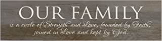 LifeSong Milestones Our Family is A Circle of Strength Decorative Wall Sign for Living Room entryway, Kitchen, Bedroom,Office, Wedding Ideas (Barnwood)