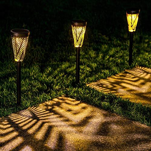 LeiDrail Solarleuchten Gartenleuchte Stableuchten Garten Außenweg Beleuchtung LED beleuchtung outdoor Warmweiß Aussenleuchten Solar Gartenleuchte Solarlampe für Patio Yard Wasserdicht Metall -6 Stück