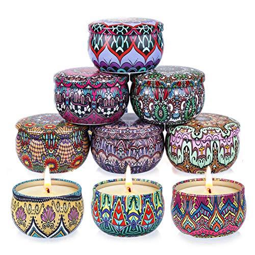 Supersun 9 Stück Duftkerze Vanille, Lavendel, Sojawachs Schöne Kerzen Duftkerzen Set Geschenkset für Frauen, Hochzeiten und Weihnachten