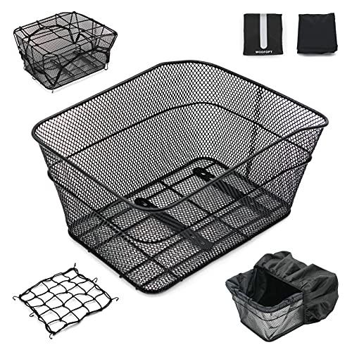 Rear Bike Basket, Bike Basket Rear with 2 Rainproof Covers and Cargo Net, Metal Bike Rear Basket with Reflective Waterproof Cover and Bicycle Rear Basket Lining,WOOFOPT Bike Rack Basket