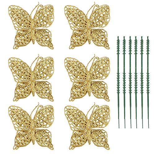 OULII Farfalle Decorazioni Natale Oggettistica di Farfalla per Albero di Natale Pacco di Regalo Corona Ghirlanda Matrimonio Cerimonia Nozze 6PCS (Oro)