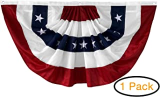 """DU VINO (1 Pack) 58""""x27"""" USA Patriotic Nylon Bunting Pleated Flag, 2 Sided, Embroidered Stars, Grommets, July 4th American Flag for Outdoor Use, Fourth of July Decorations"""