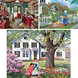 Bits and Pieces - Value Set of Three (3) 1000 Piece Jigsaw Puzzles for Adults - Each Puzzle Measures 20' x 27' - 1000 pc Slow Day, The Rose Arbor, Best Friends Jigsaws by Artist John Sloane