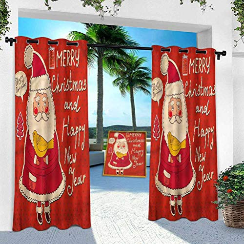 Aishare Store Indoor Outdoor Curtains, Christmas,Santa and Yellow Bird, 100' x 84' Outdoor Pergola Curtains Patio Blackout Drapery for Front Porch/Sunroom(1 Panel)