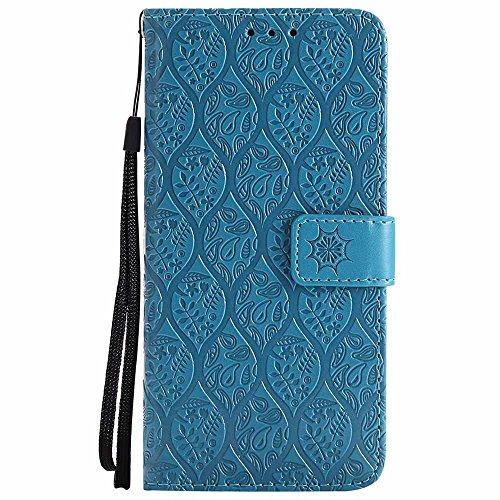 Galaxy S8 Hülle, Premium Veganes Leder Elegantes Geprägtes Blumenmuster Slim Ständer Flip Brieftasche Schutzhülle für Samsung Galaxy S8, Himmelblau