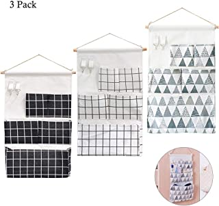 3Pcs Wall Closet Hanging Storage Bag with 5 Pockets& 2 Hooks, AUHOKY Premium Linen Fabric Over The Door Organizer, Waterproof Hanging Storage Pouches for Bedroom Bathroom (3 Patterns)