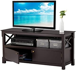 Yaheetech X- Design TV Stand Media Entertainment Center Storage Console Table for TVs Wood, Espresso