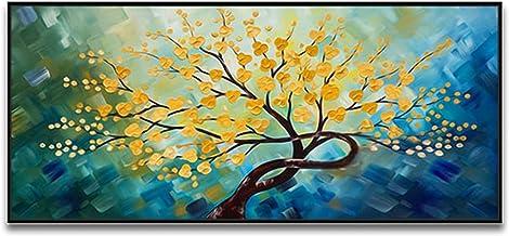 Handgeschilderd Olieverfschilderij - Abstract Moderne Blauwe Rug Gele Bloemen Paletmes Textuur Handgeschilderd Olieverfsch...