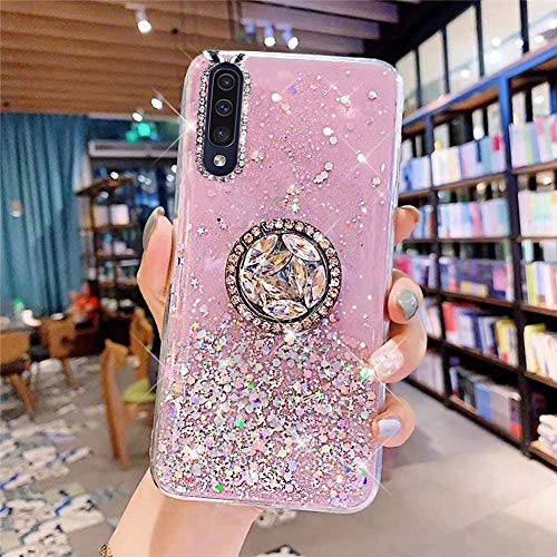Coque pour Samsung Galaxy A50 Coque Transparent Glitter avec Support Bague,étoilé Bling Paillettes Motif Silicone Gel TPU Housse de Protection Ultra Mince Clair Souple Case pour Galaxy A50,Rose