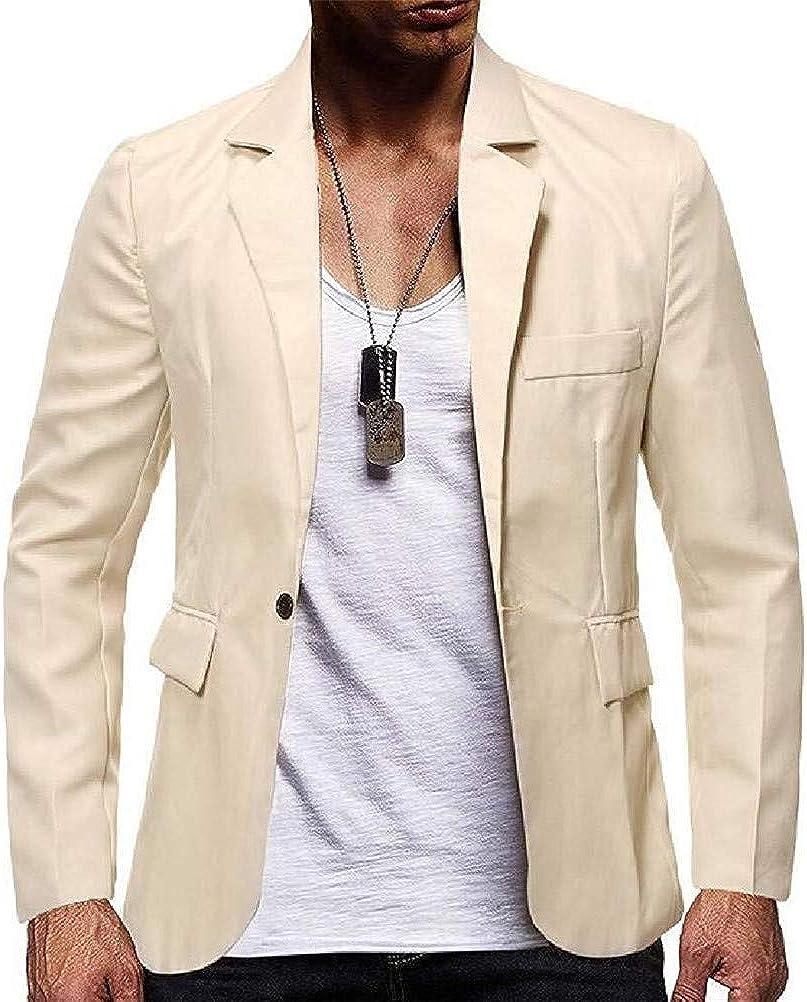 Men Solid One Button Casual Slim Sport Coat Blazer Jacket