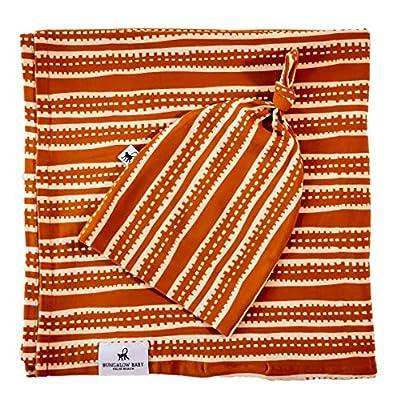 Bungalow Baby Swaddle Set - Premium Bamboo Viscose Baby Swaddle Blanket & Hat Set, Baby Boy, Baby Girl, Unisex, Newborn Swaddle, Baby Wrap, Bamboo Blanket (Tribal Stripe)