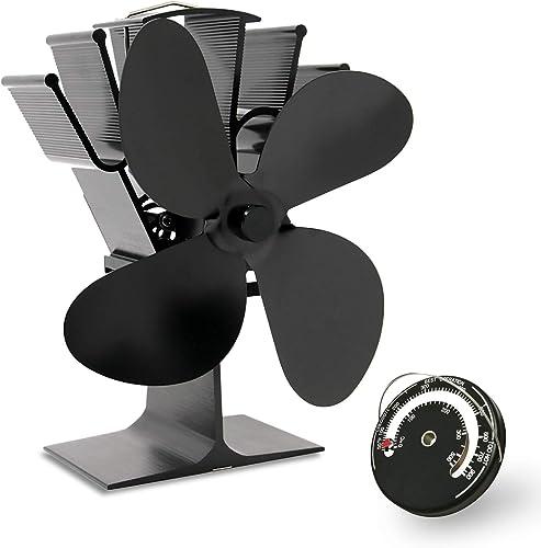 AcornSolution Ventilateur pour poêle à bois, alimenté par la chaleur, écologique et efficace - Noir