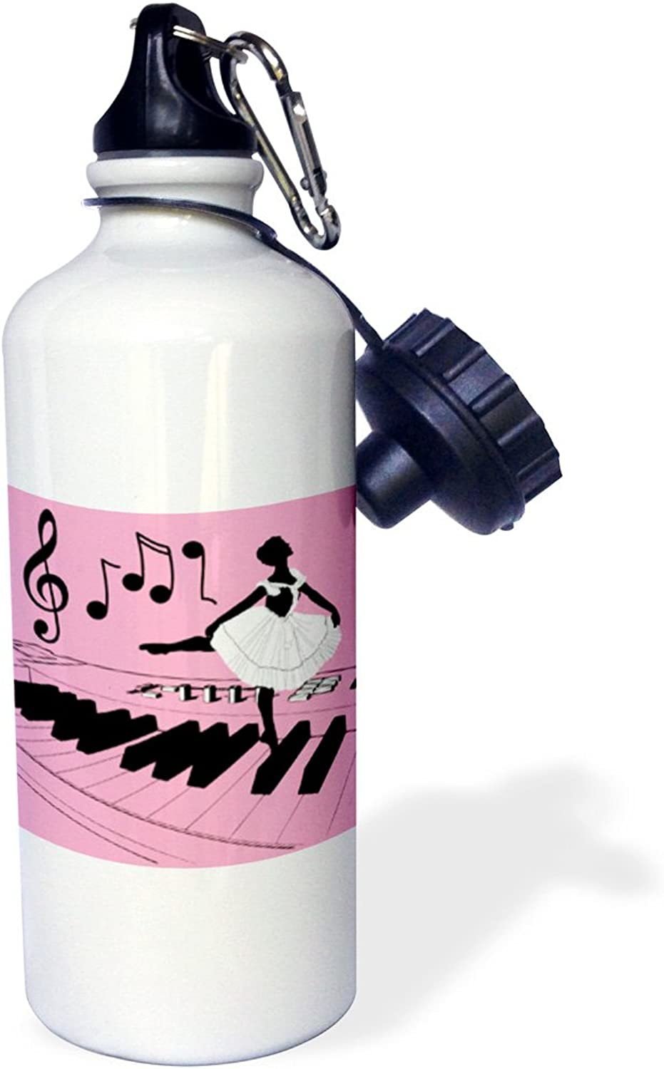 3dpink wb_18950_1 Tiny Dancer in Pink Sports Water Bottle, 21 oz, White