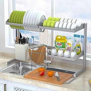DJSMsnj Rangement de cuisine en acier inoxydable - Égouttoir d'évier de cuisine - Étagères de présentation pour fourniture...